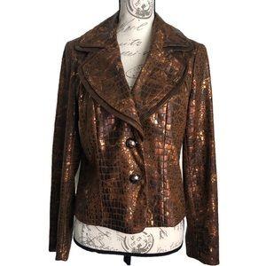 V CRISTINA | Bronze Metallic Blazer Jacket M